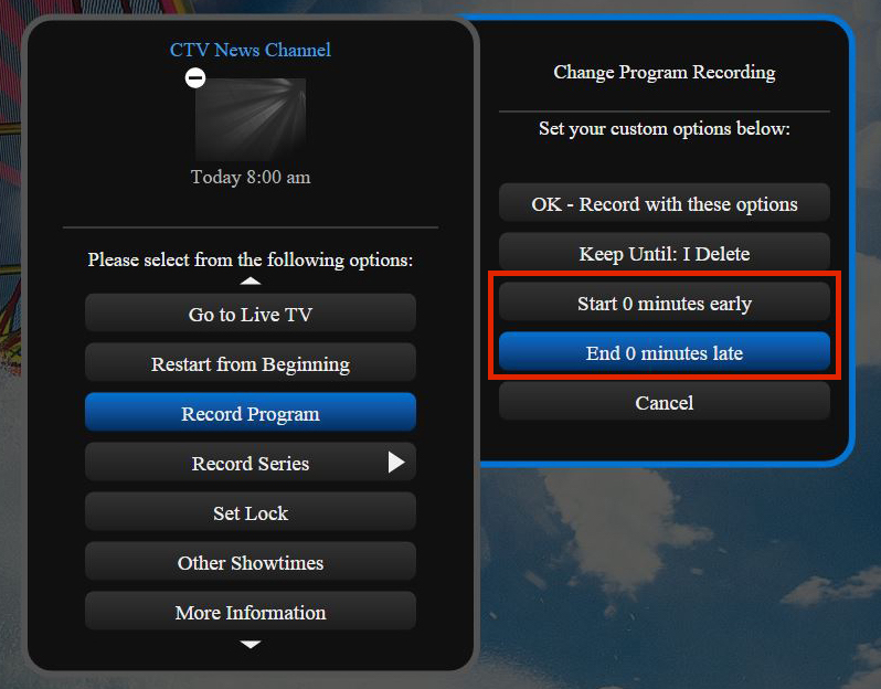 HD Guide PVR Extend Time