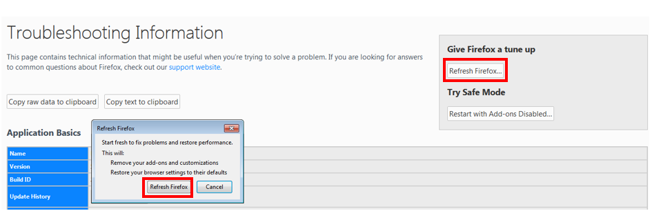 Firefox Refresh option