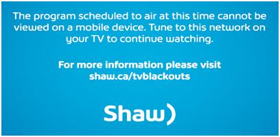 BlueCurve TV blackout notice