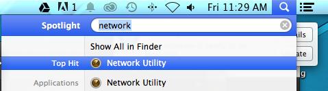 Network Utility > Mac OS
