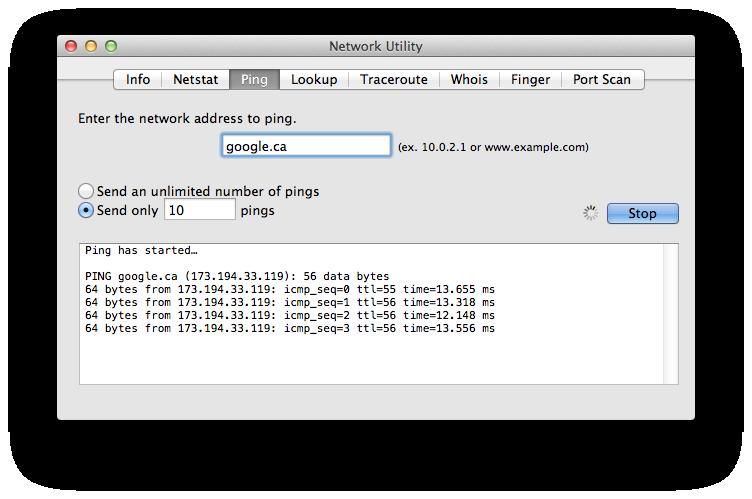 Mac Ping test response time