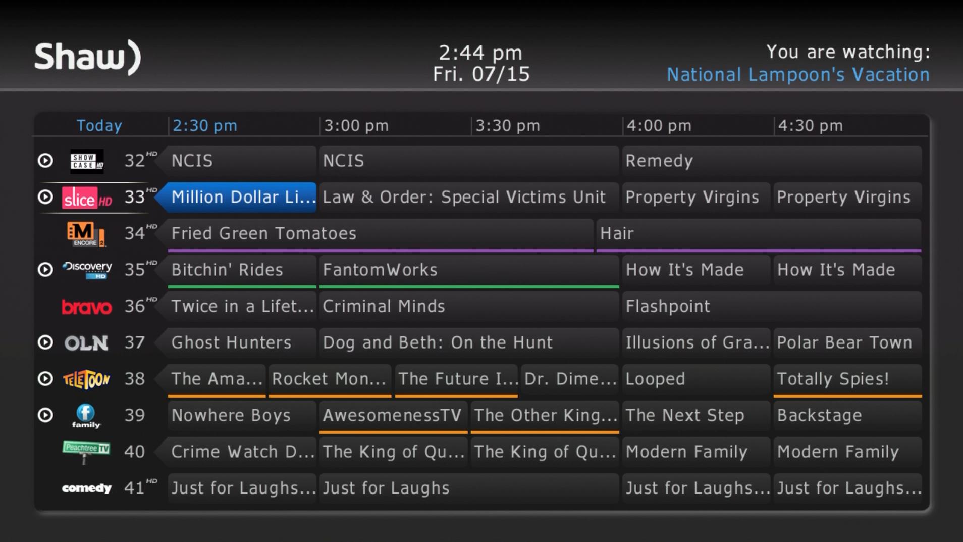 Shaw HD Guide: Full Screen Guide View