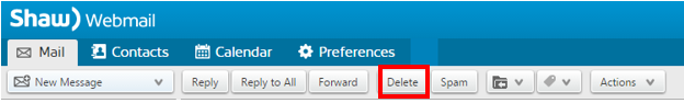 Shaw Webmail > Delete Email from Top Menu