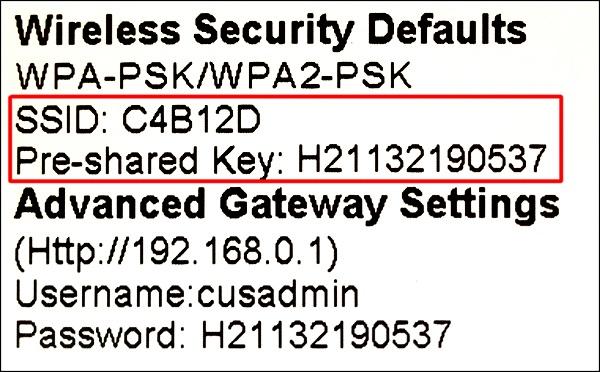 SSID Information for WiFi Setup on a Samsung Smart TV