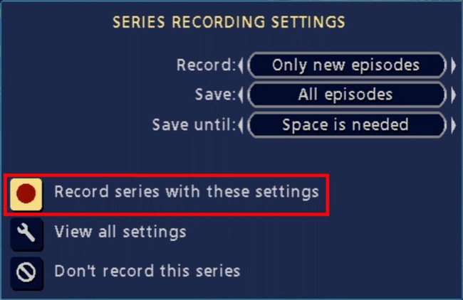 Classic Guide PVR: Record series with these settings