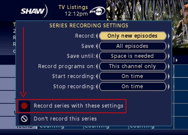 Classic Guide PVR recording settings
