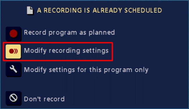 Shaw Classic Guide: Modify recording settings