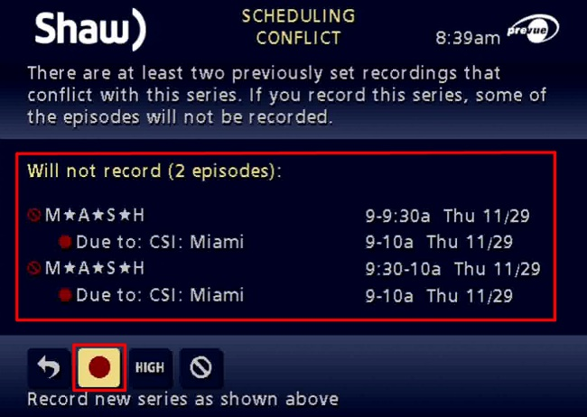 Shaw Classic Guide PVR Recording Priorities
