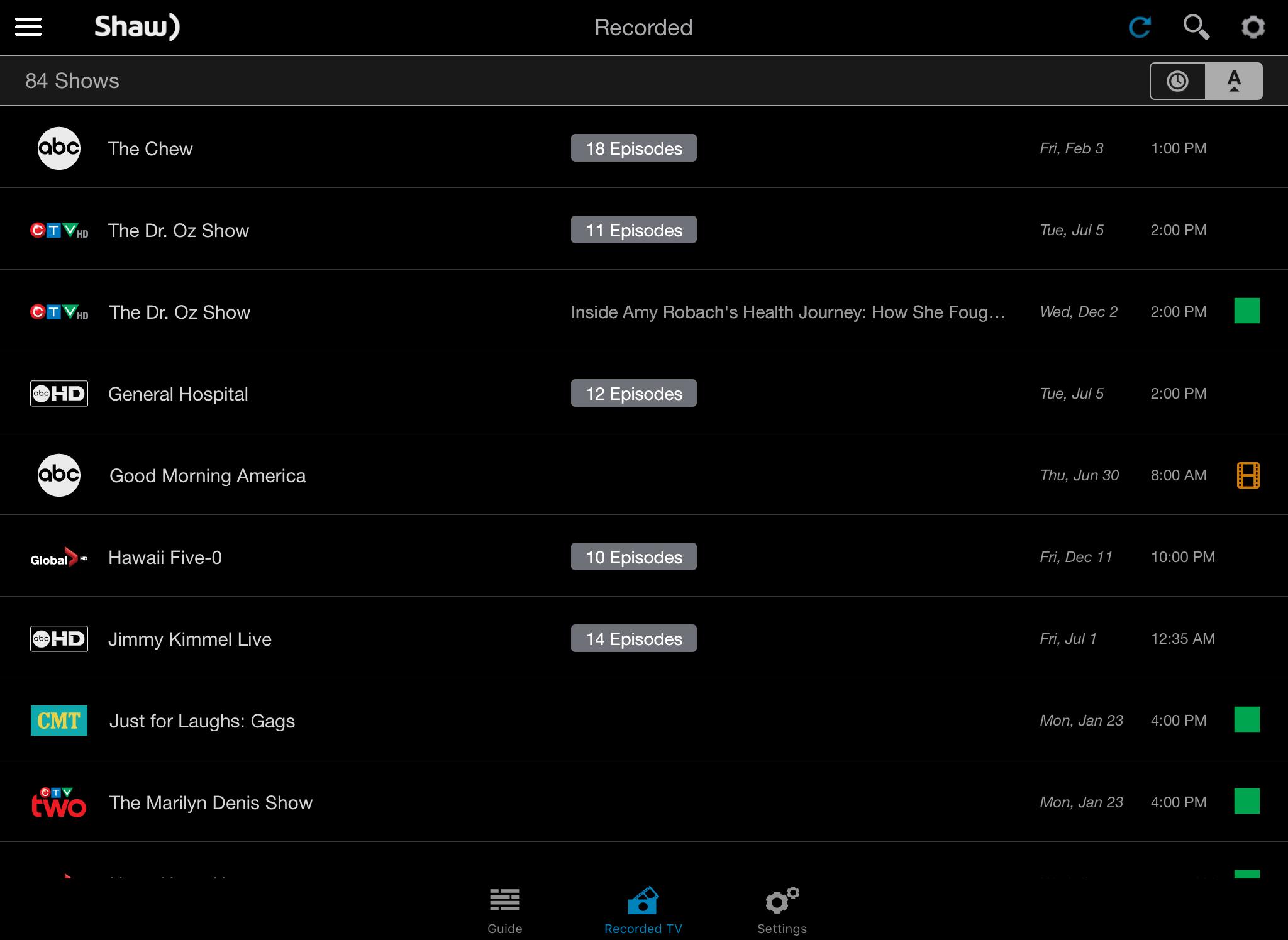 Shaw Go Gateway App Manage Recordings