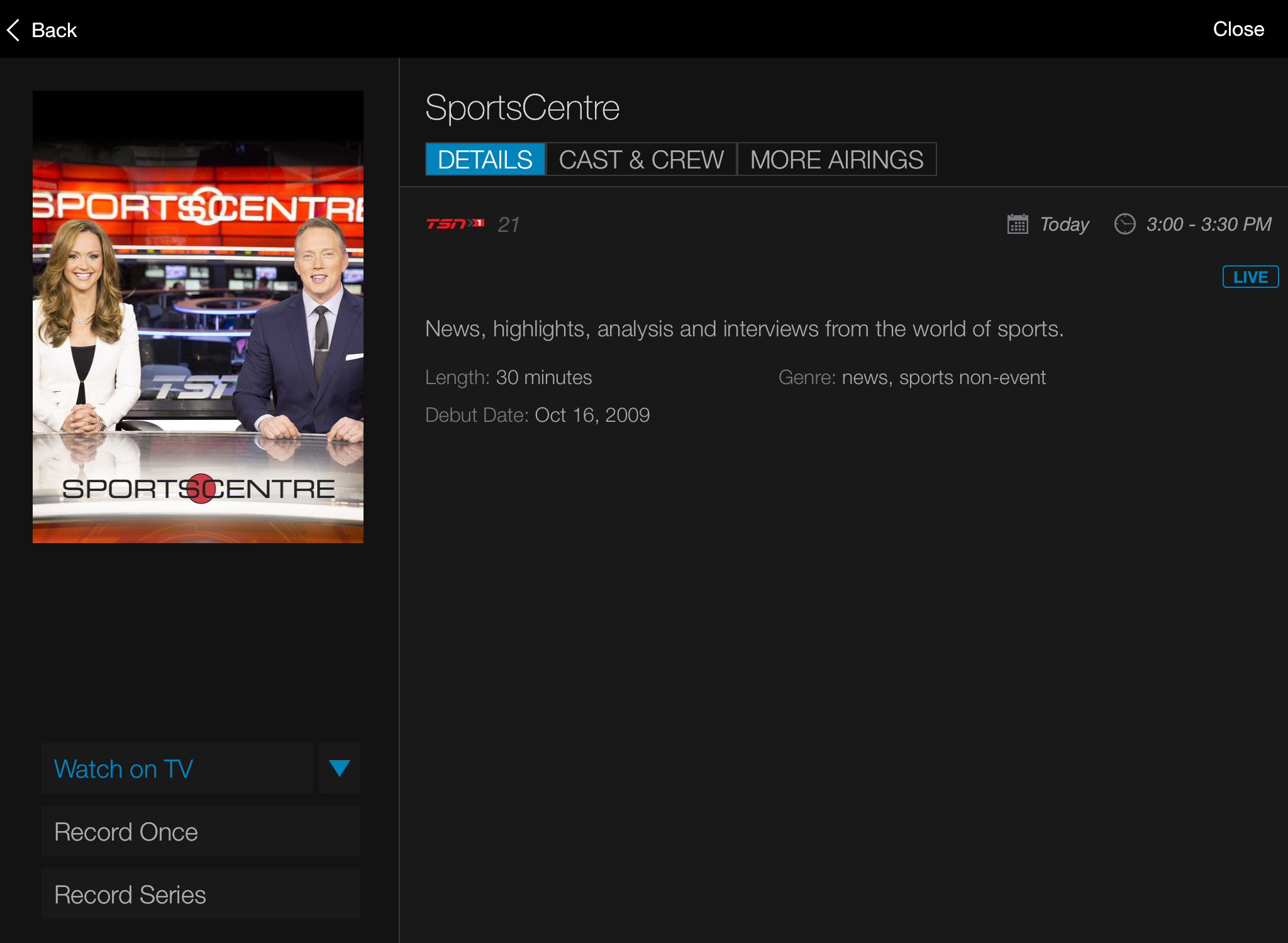 Shaw Go Gateway > Watch on TV