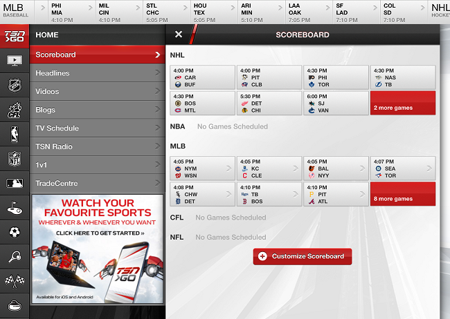 TSN GO App Home Screen