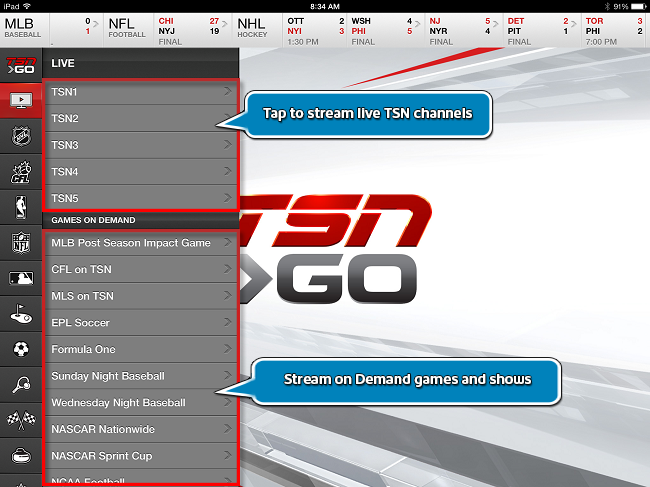 TSN GO Streaming and On Demand Options