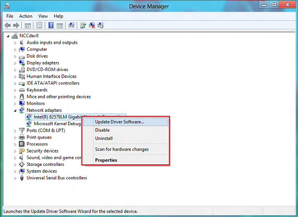 Windows 8 Device Manager Window Properties