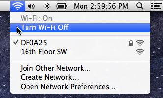 Mac OS X WiFi Off