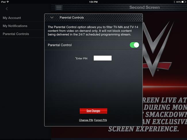 WWE App Parental Controls Screen