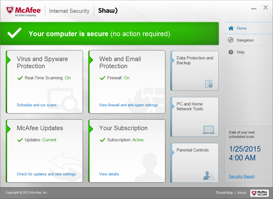 Shaw Secure McAfee Internet Security features