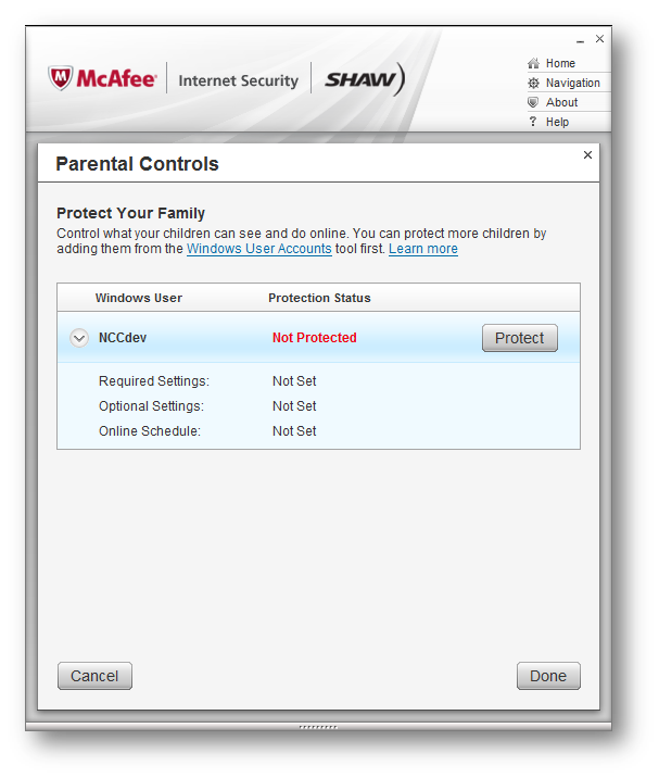McAfee Internet Security > Parental Control Settings > Protected