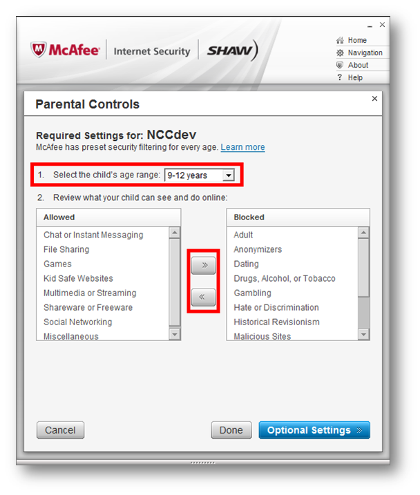 McAfee Internet Security > Parental Controls > Required Settings