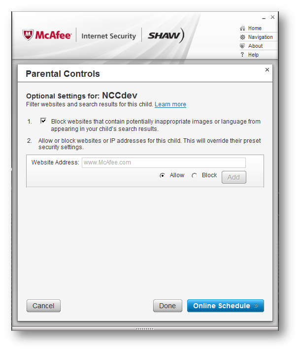 McAfee Internet Security > Parental Controls Optional Settings