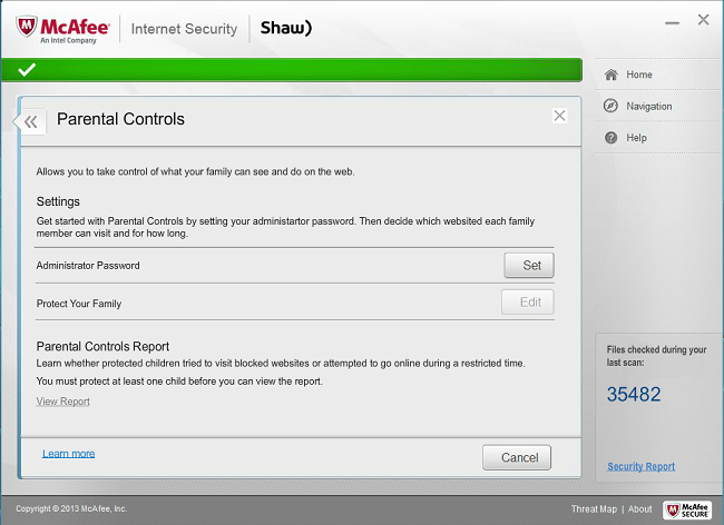 Shaw Secure McAfee Internet Security help
