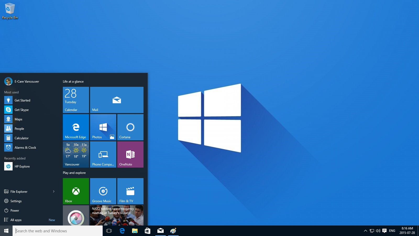 Windows 10 Desktop and Start Menu