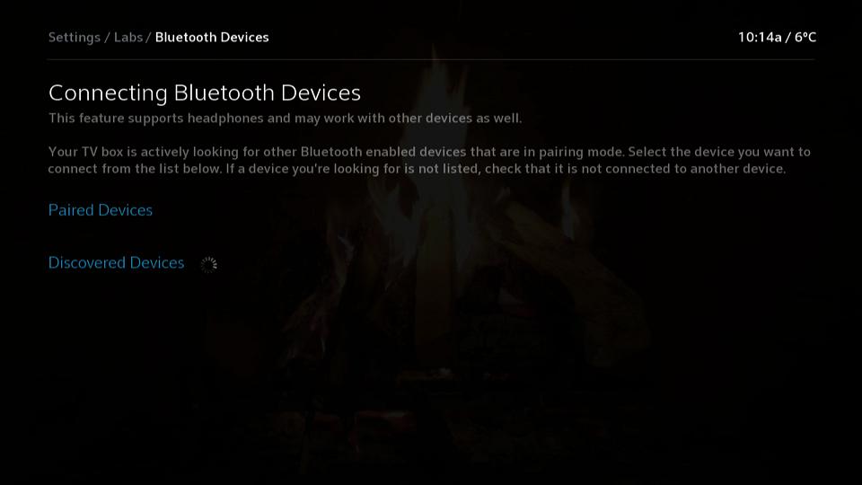 Bluetooth Devices Menu