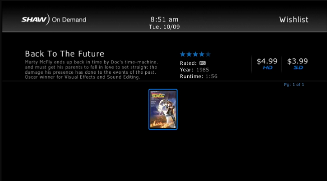 HD Guide > Shaw On Demand > Back to the Future Movie Order