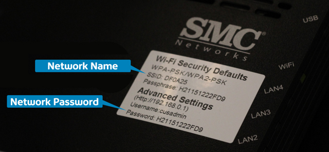 SSID Network Name and Password Sticker