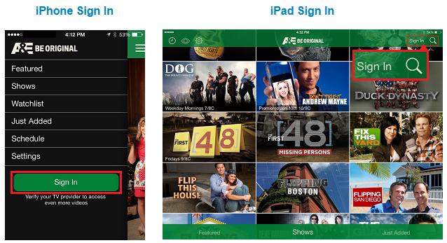 A&E App Login on Apple Devices