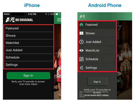 A&E App options on an Apple or Android Smartphone