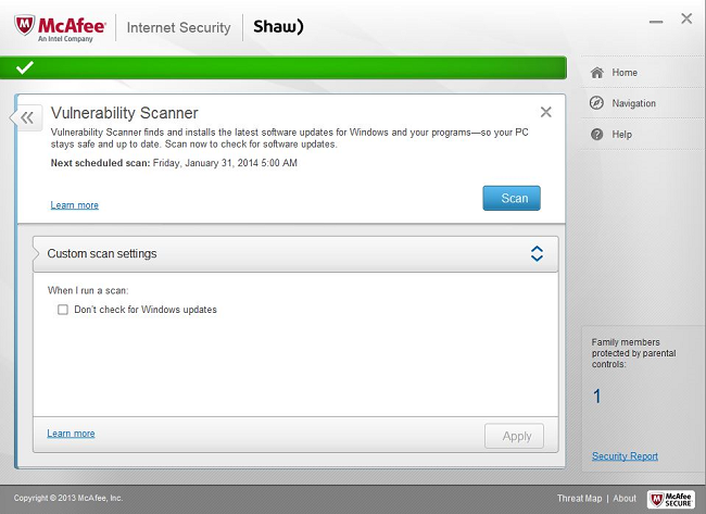 Shaw Secure McAfee 12.8 Vulnerability Scanner