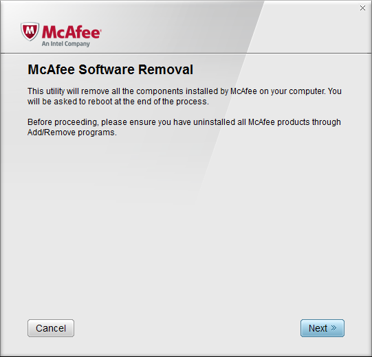 McAfee Software Removal > Start Process Screen