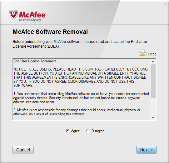 McAfee Software Removal > Agree to User Agreement
