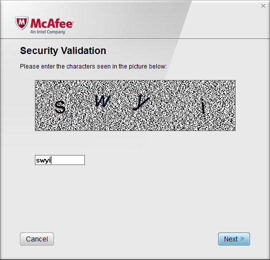 McAfee Software Removal > Security Validation Screen