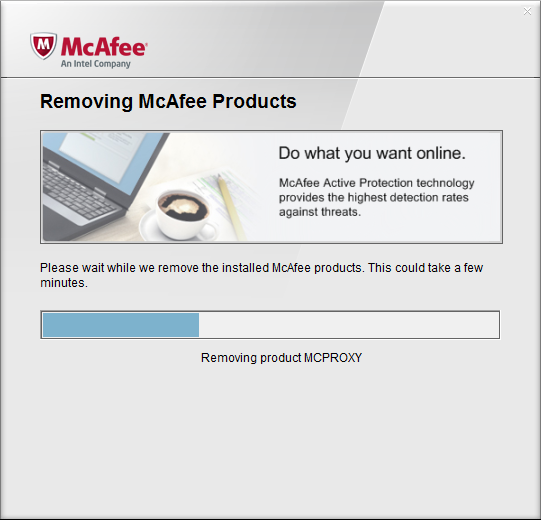 Removing McAfee Products > Progress Screen