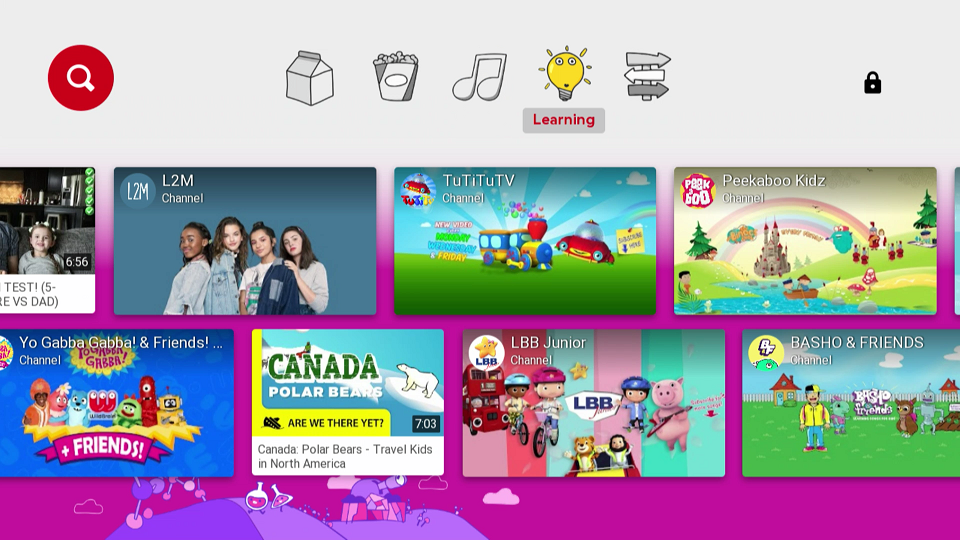 YouTube Kids Learning Category