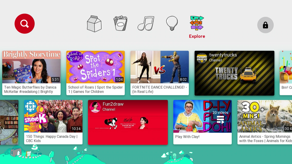 YouTube Kids Explore Section