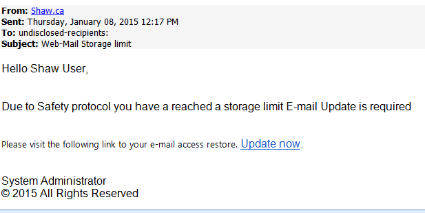 phising scam web-mail storage limit