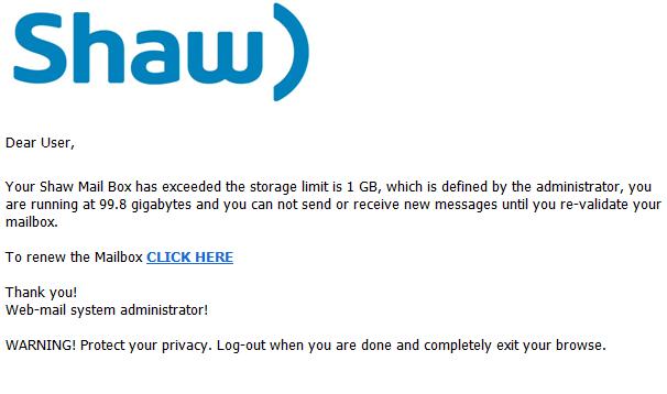 phising scam email update