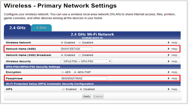 Example of Arris modem settings
