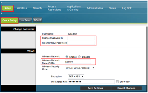 Example of Cisco modem settings