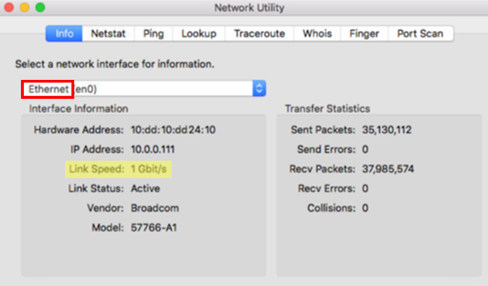 Apple Network Utility Ethernet
