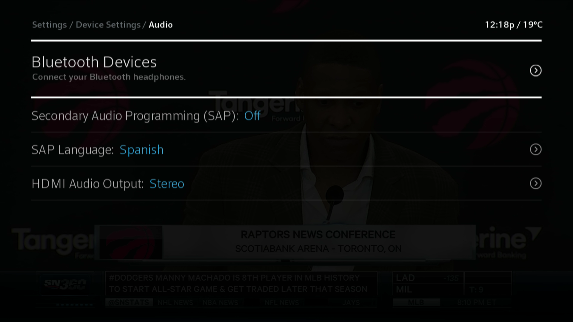 BlueSky TV Settings > Device Settings > Audio > Bluetooth Devices