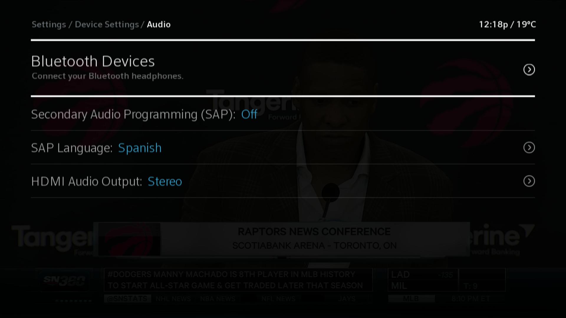 BlueCurve TV Settings > Device Settings > Audio > Bluetooth Devices
