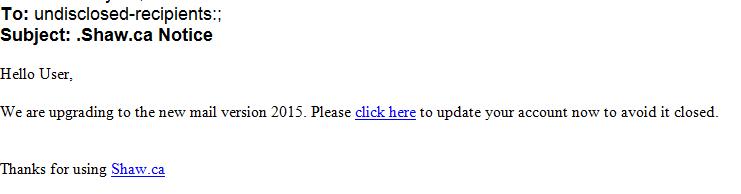 phising scam shaw.ca notice