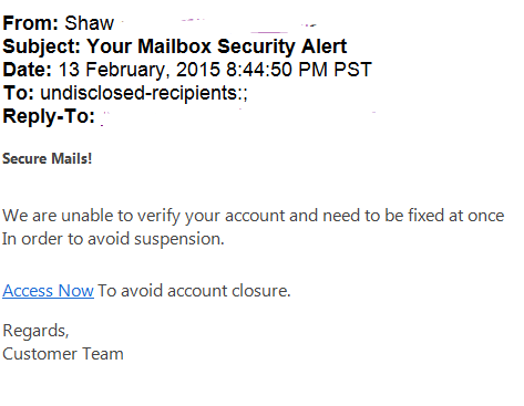 phising scam mailbox security alert