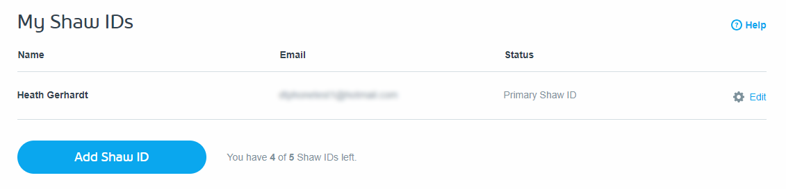 My Shaw IDs