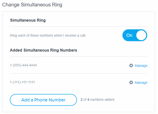 Change Simultaneous Ring