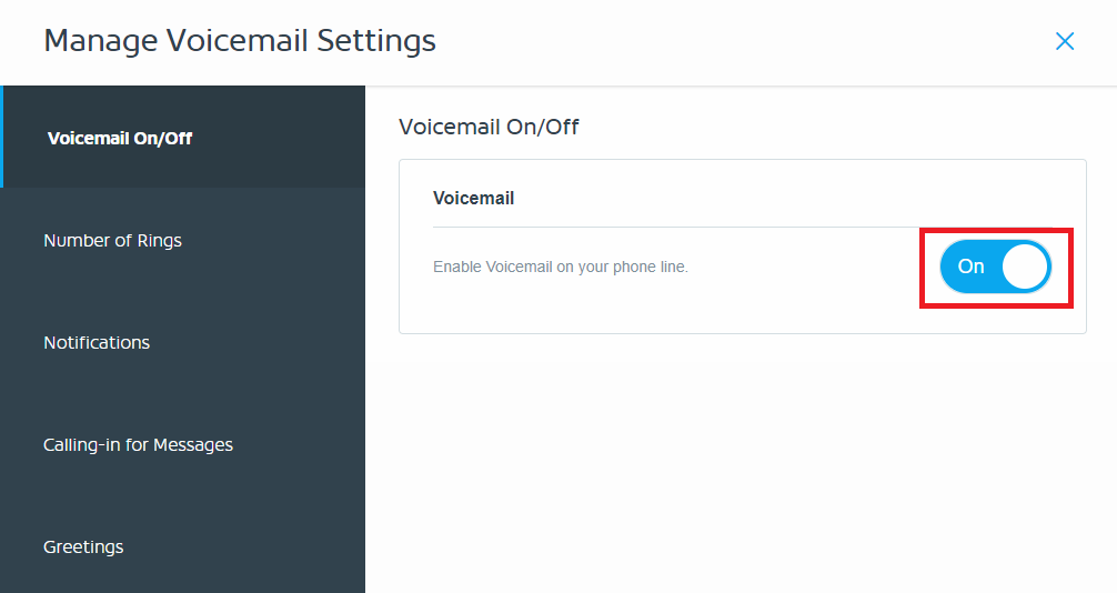 Voicemail On or Off