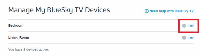 Manage BlueSky TV Devices